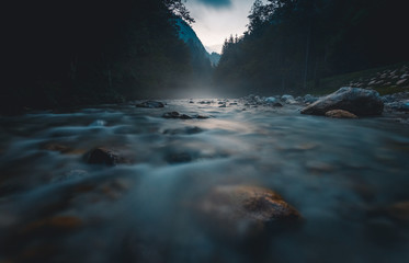 Savinja river flowing through the beautiful Slovenian landscape.