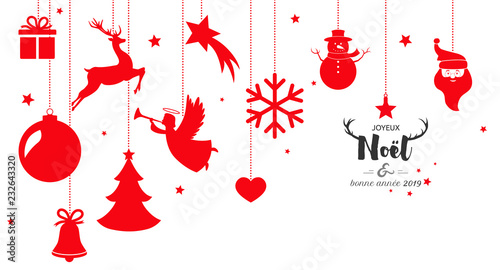Image De Noel 2019.Christmas Card 2019 With Hanging Decorations Stock Image