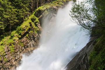 View Alpine inspiring Krimml waterfall in mountains