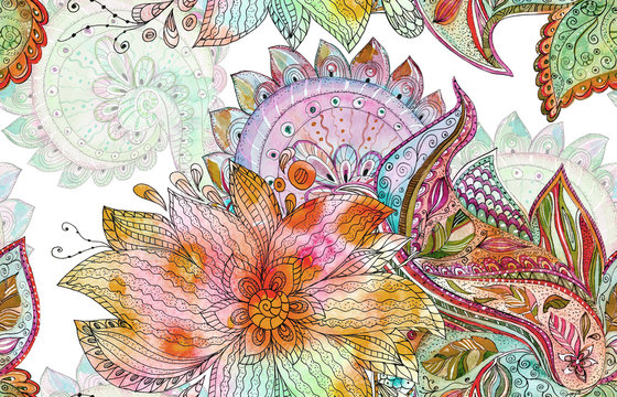 seamless batik pattern with fancy blossoms. watercolor painting