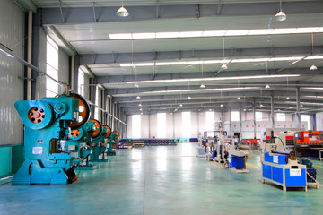 Large machinery and equipment in a production workshop