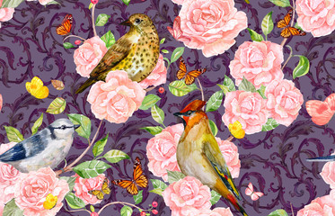 vintage seamless pattern with birds on roses bush. watercolor painting