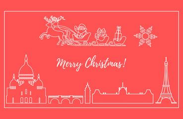 Santa Claus in sleigh with deers flying over Paris