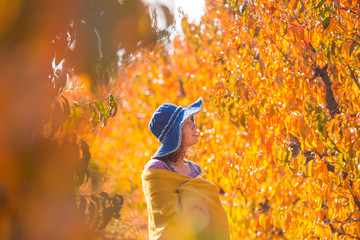 Woman in the countryside during autumn