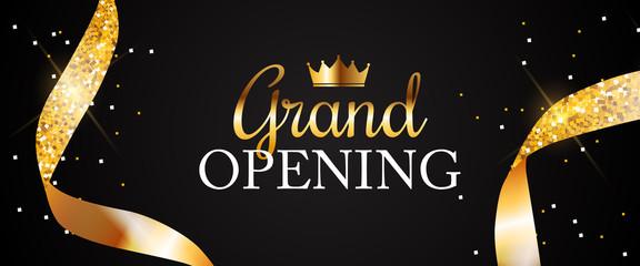 Fototapeta Grand Opening Card with Golden Ribbon Background. Vector Illustration obraz