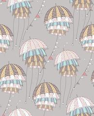 Gray umbrellas. Vector pattern illustration. Flying funny strange umbrellas.
