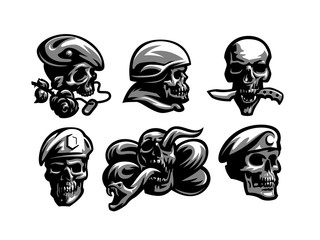 Set of Skull emblems.