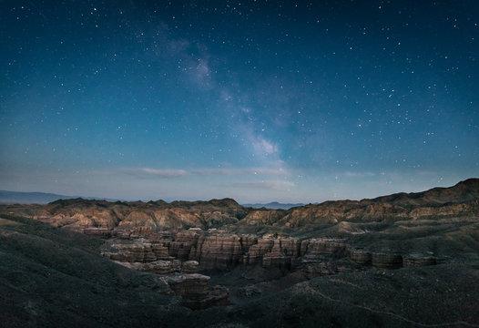 charyn canyon under starry night sky, kazakhstan