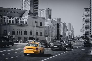 Traffic car on street of Moscow city, far international business Russian Center