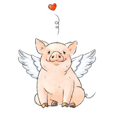 Hand drawn naughty pig with angel wings. Cute funny piglet and heart isolated on white background. Romantic Collection Illustration.