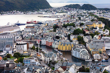 view on old town and harbour. Alesund.