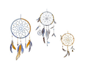 Dreamcatchers and feathers isolated on white background. Native american indian dreamcatchers. Colorful illustration for your design.