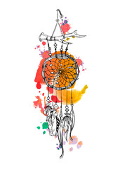 Dreamcatcher and feather with watercolor strokes isolated on white background. Native american indian dreamcatchers. Colorful vector illustration.