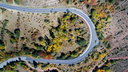 Aerial view of a road in autumn