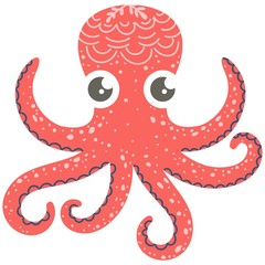 Cute illustration of octopus for nursery decor, prints and posters, doodle style illustration. Vector