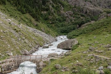 View closeup river scenes in mountains, national park Switzerland