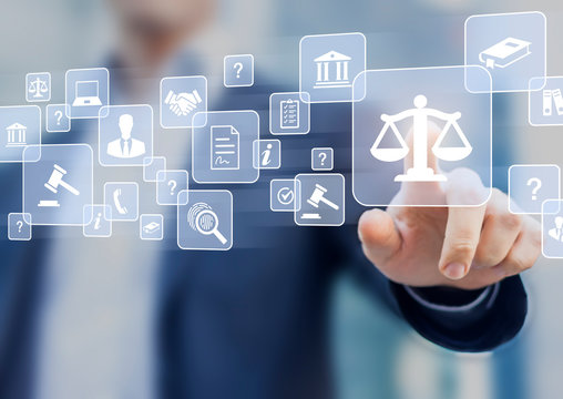 Legal advice service with professional person presenting consulting work for business contract and legislation, defense attorney, notary paperwork, court expert, concept with icons