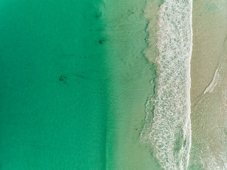 Aerial Views Of Sandy Beach In Summer