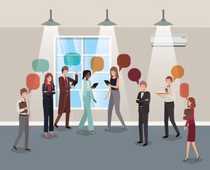 business people talking in corridor office