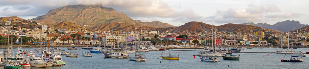 Panoramic view of the harbor of Mindelo, Sao Vicente, Cape Verde