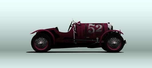 Retro racing car in vector Wall mural