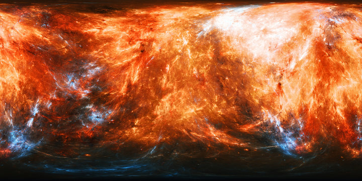 Fiery planet texture with blue energy bursts panorama map