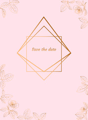 Gold design frame with roses. Save the date card. Vector illustration.