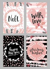 Collection of christmas greeting cards with hand lettering and hand drawn winter holiday and christmas elements and floral arrangement