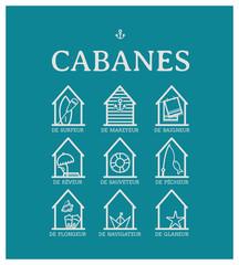 Cabanes de plage, cabine, surfeur, pêcheur, mareyeur, baigneur, nageur, rêveur, sauveteur, navigateur, plongeur