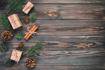 Christmas background with copy space, top view. holiday concept for you design on wooden table. vintage background