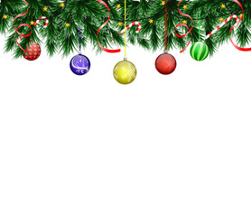 Christmas card with realistic fir branches and balls on a white background with an inscription