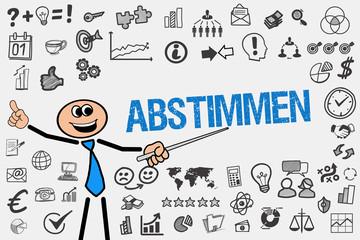 Abstimmen / Mann mit Symbole