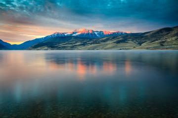 Blue dawn reflection with Mount Timpanogos, Utah, USA. Wall mural