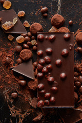 Top view of luxury delicious chocolate and candies truffles