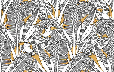 Jungle exotic palm leaves and birds seamless pattern. Banana leaf vector background. Adult zentangle colouring page illustration. Tropical bananas forest wallpapers.