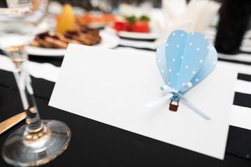 Wedding invitation with mockup on ceremony table