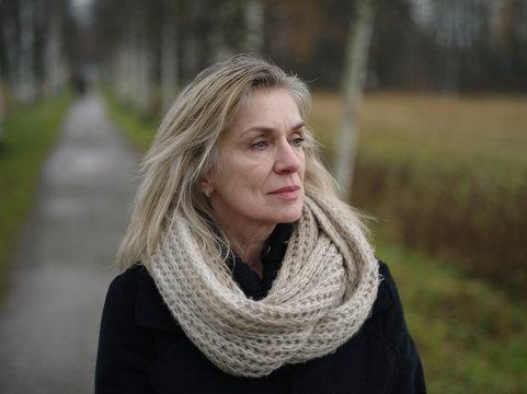 Beautiful woman posing in park