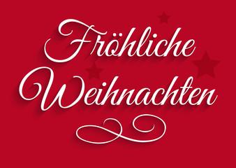 Fröhliche Weihnachten - Rote Grußkarte mit Verzierung