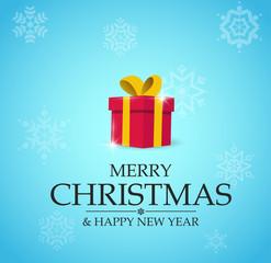 Merry Christmas. Red Gift Box On Christmas Eve.