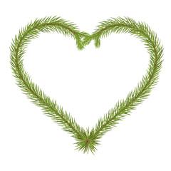 Abstract Heart Shaped Vector Fir Branch - Love Message