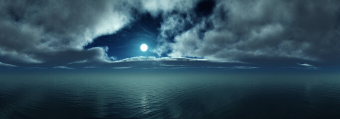 Night over the sea, the moon in clouds over the water, the rising of the moon over the ocean,