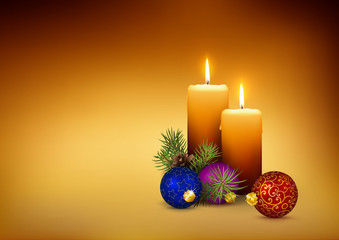Candlelights / Candles - XMAS Template Card with Free Space for Your Own Text, Wishes or Design.