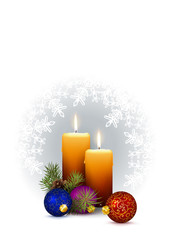 2 Orange Candles with Christmas Decor and Wintry White Background with Snowflakes.