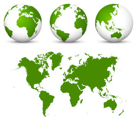 Green 3D Vector World - Globe Collection and Undistorted 2D Earth Map in Green Color.