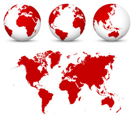ed 3D Globe - World Vector Icon Templates with Flat Undistorted 2D Earth Map in Red Color.