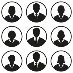 Business people avatar icons on white background
