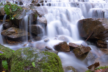 beautiful smoothly flowing water at Mea Kampong waterfall, Chaingmai provice, Thailand. Long exposure, close up