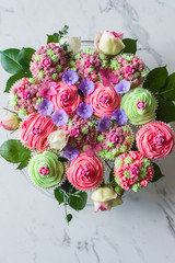 a bouquet of cupcakes