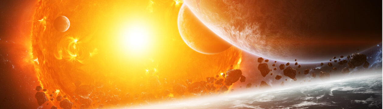 Exploding sun in space close to planet 3D rendering elements of this image furnished by NASA