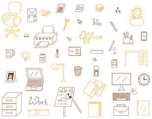 Icons set of Office vector illustration sketch logo silhouette